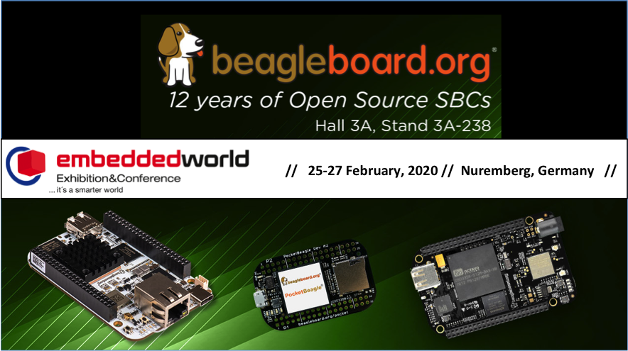 BeagleBoard.org at Embedded World 2020 Booth 3A-238